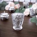 ŚWIECZNIKI szklaneczki efektowne Srebro ala kryształ 4szt