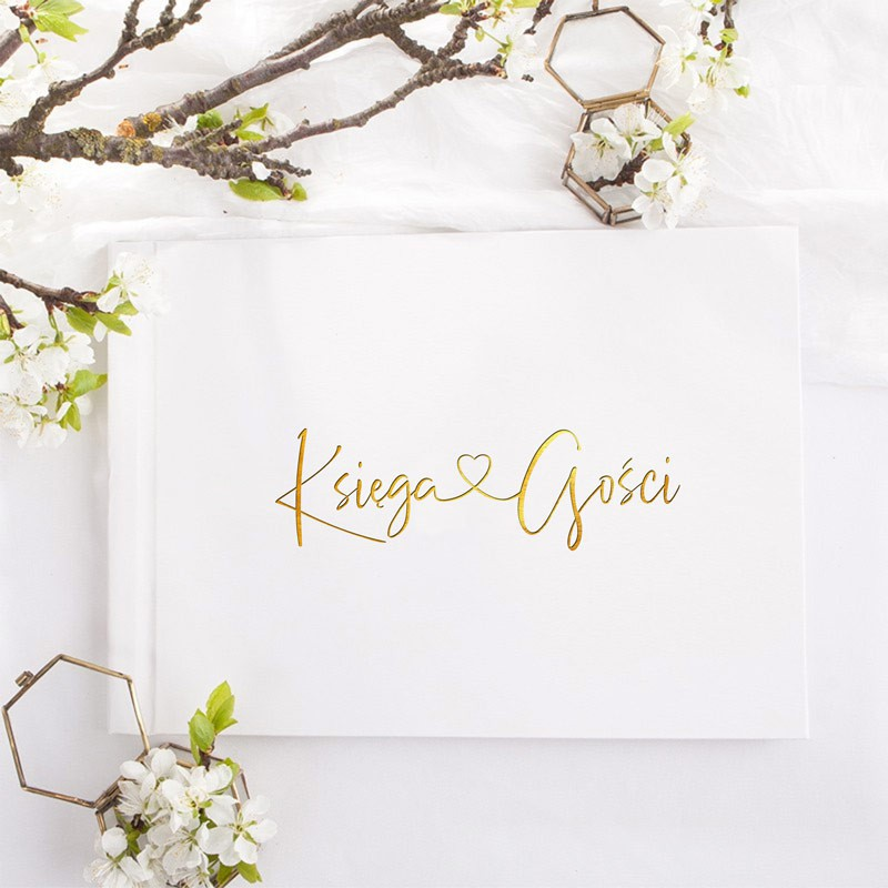 księga gości weselnych ze złoconym napisem