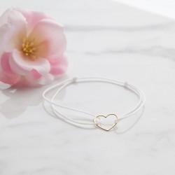 BRANSOLETKA z sercem POZŁACANA biały sznureczek pamiątka prezent