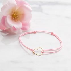 BRANSOLETKA z sercem POZŁACANA różowy sznureczek pamiątka prezent
