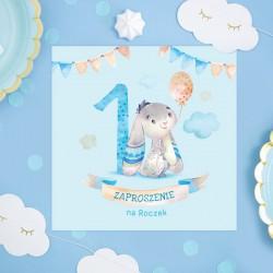 ZAPROSZENIA na Roczek chłopca Króliczek z balonem 10szt (+koperty)