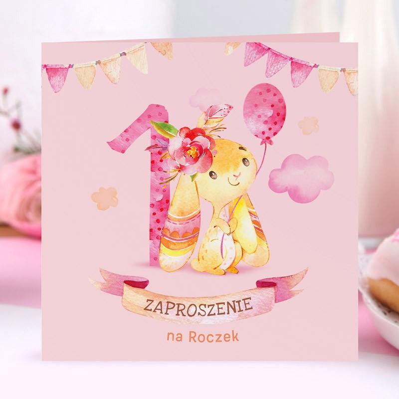 Różowe zaproszenia na roczek dla dziewczynki