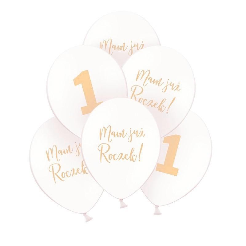 Balony ze złotym napisem na roczek