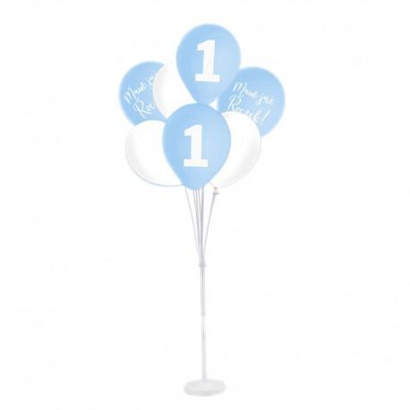 ZESTAW balonów na Roczek ze stojakiem BŁĘKITNO-BIAŁY