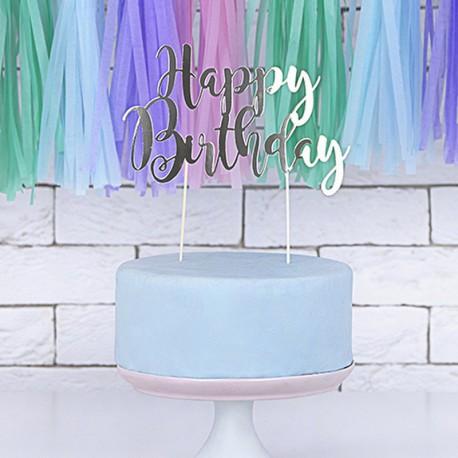 TOPPER na tort Happy Birthday SREBRNY