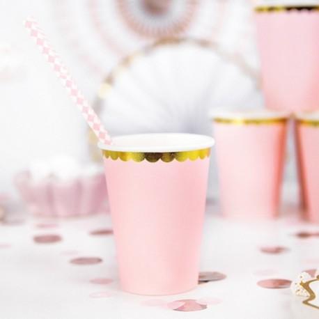 KUBECZKI papierowe na przyjęcia różowe 6szt złote brzegi
