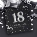 ZAPROSZENIA na 18 urodziny czarno-srebrne 10szt (+koperty)