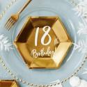 TALERZYKI na 18 urodziny heksagon złote 20cm 6szt