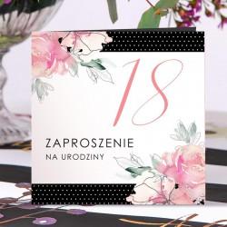 ZAPROSZENIA na 18 urodziny Kwiatowe Groszki 10szt (+koperty)