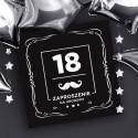 ZAPROSZENIA na 18 dla chłopaka Black z wąsem 10szt (+koperty)