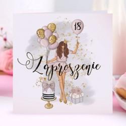 ZAPROSZENIA na 18 Birthday Girl 10szt (+koperty)