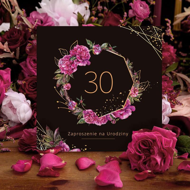 Zaproszenia na 30 urodziny z kwiatami w stylu boho