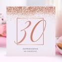 ZAPROSZENIA na 30 urodziny Rosegold Confetti 10szt (+koperty)