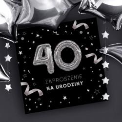 ZAPROSZENIA na 40 urodziny czarno-srebrne 10szt (+koperty)