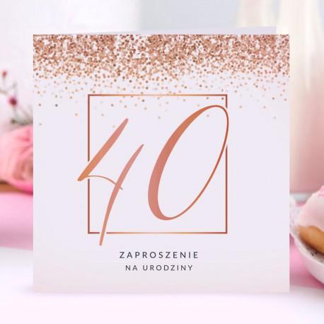 ZAPROSZENIA na 40 urodziny glamour Rosegold Confetti 10szt (+koperty)