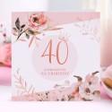 ZAPROSZENIA na 40 urodziny Rosegold Flowers 10szt (+koperty)