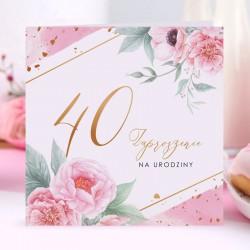 ZAPROSZENIA na 40 urodziny Piwonie 10szt (+koperty)