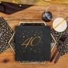 SERWETKI na 40 urodziny ze złotym napisem 33x33cm 20szt CZARNE