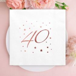 SERWETKI na 40 urodziny z napisem Rosegold 33x33cm 20szt BIAŁE