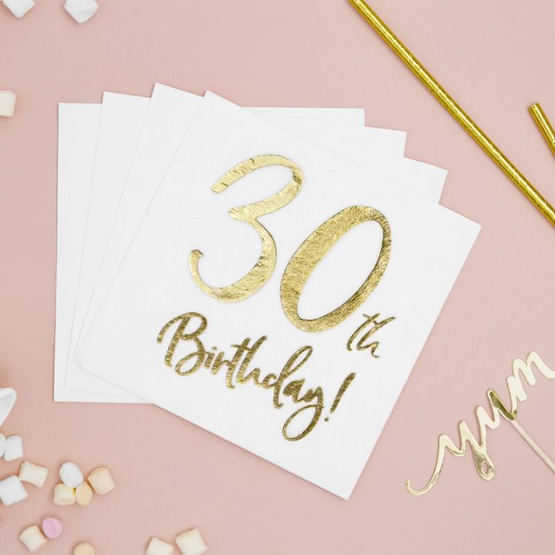 Serwetki na 30 urodziny ze złotą aplikacją