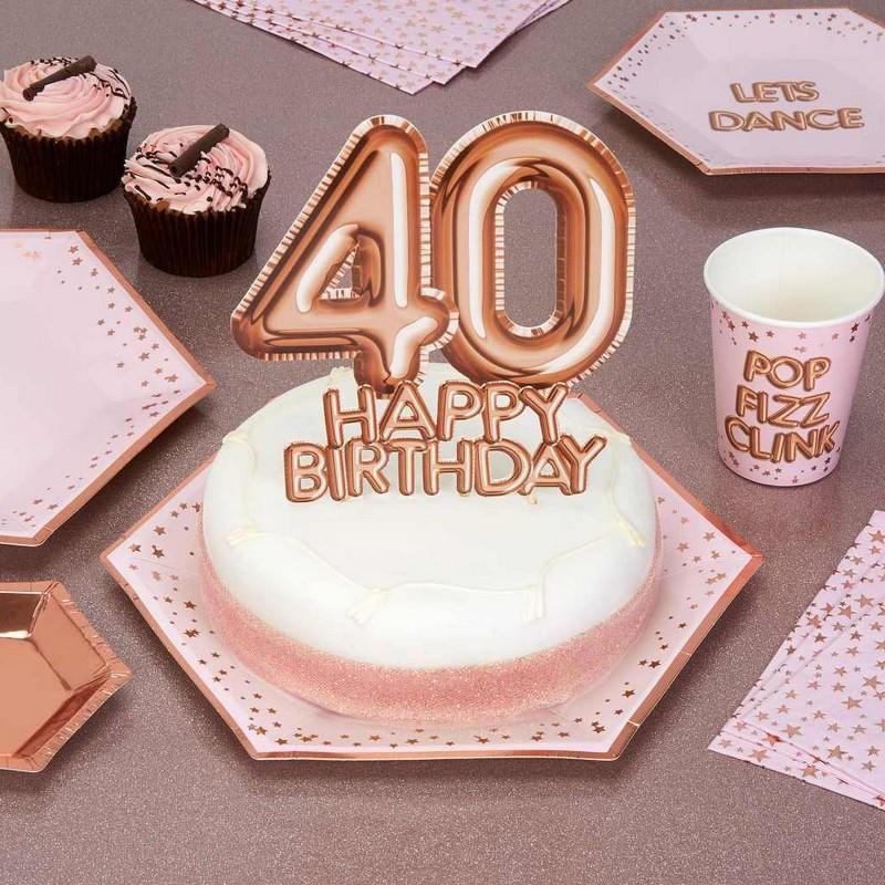 Topper w kolorze rosegold na 40 urodziny