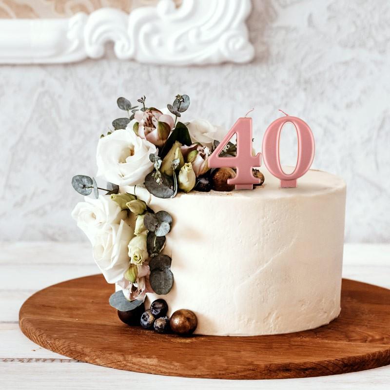 Świeczki w kolorze rosegold na 40 urodziny