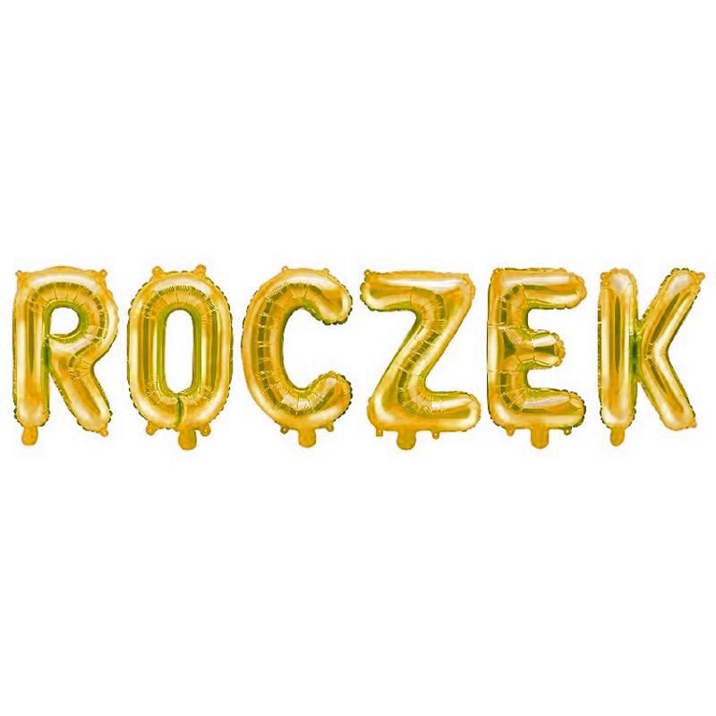 złote balony foliowe napis Roczek
