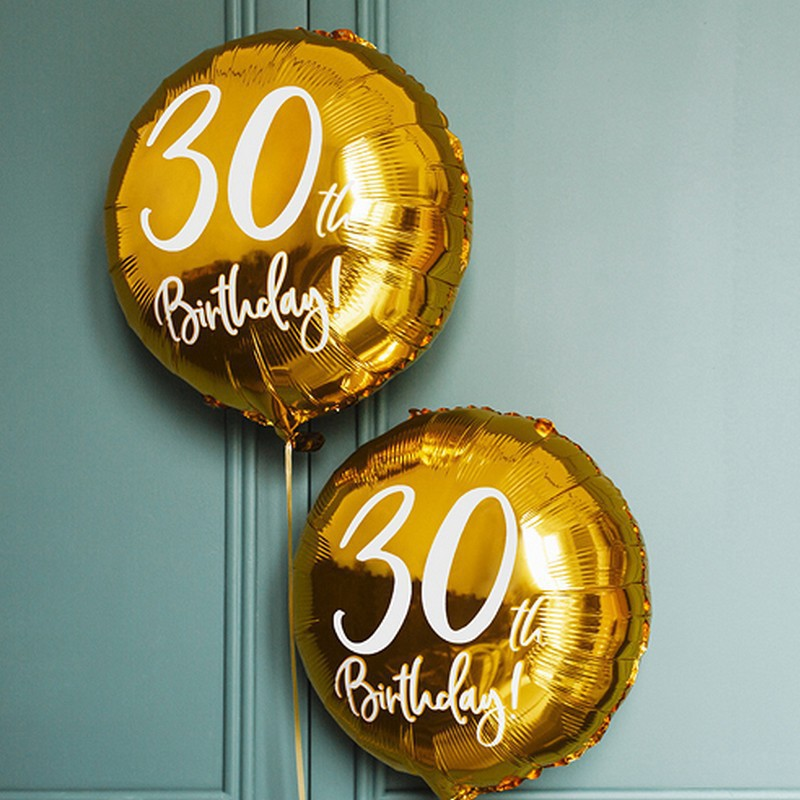 Złoty balon foliowy na 30 urodziny
