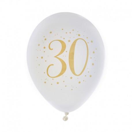 BALONY na 30 urodziny białe+złote 23cm 8szt