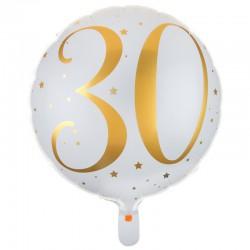 BALON na 30 urodziny foliowy NADRUK BŁYSK 45cm