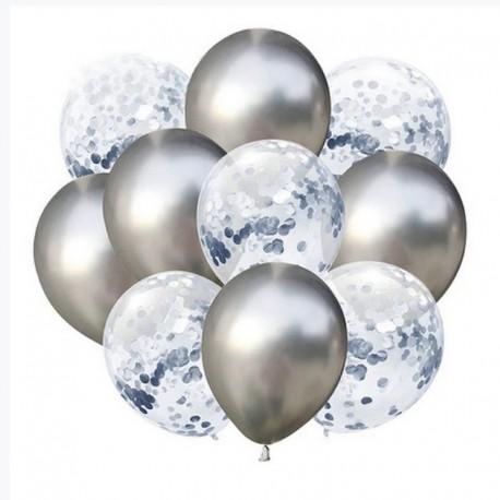 ZESTAW balonów na Chrzest, Roczek, Komunię SREBRNY CHROM