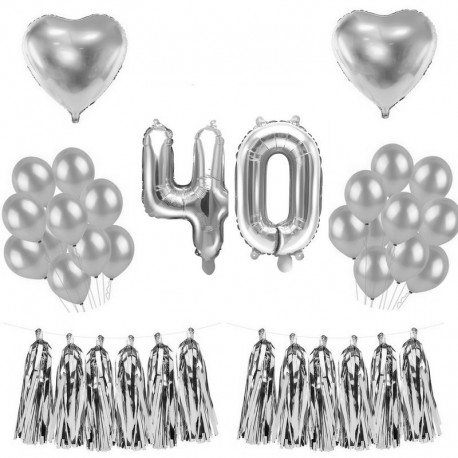 BALONY na 40 urodziny SREBRNE gotowy MEGA ZESTAW