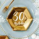 TALERZYKI na 30 urodziny heksagon złote 6szt