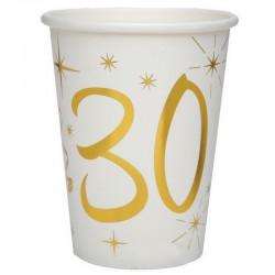 KUBECZKI na 30 białe+złote gwiazdki 10szt