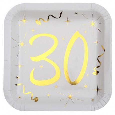 TALERZYKI na 30 urodziny białe+złote gwiazdki 10szt BŁYSK