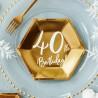TALERZYKI na 40 urodziny heksagon złote 6szt