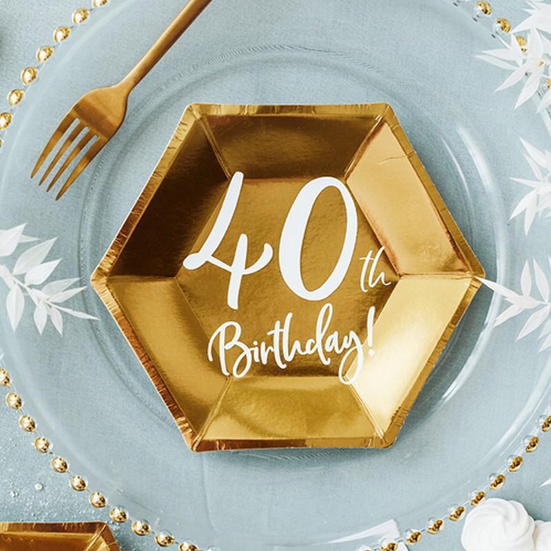 Kubeczki i talerzyki na 40 urodziny w złotym kolorze