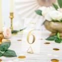 NUMERKI na stół transparentne ze złotym napisem KOMPLET 20szt