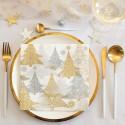 SERWETKI świąteczne flizelinowe Choinki złoto-srebrne 40x40cm 50szt