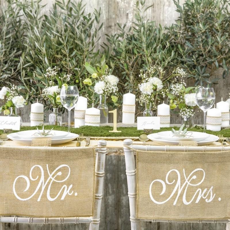 Jutowe zawieszki na krzesła weselne