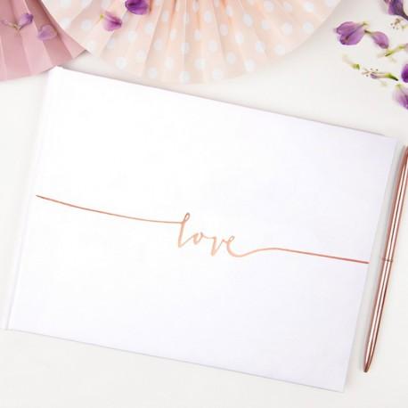 KSIĘGA GOŚCI weselnych z napisem Love ROSEGOLD 22 kartki