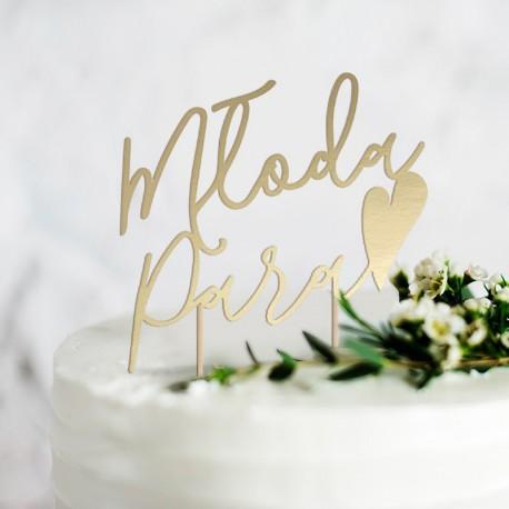 TOPPER na tort weselny złoty Młoda Para