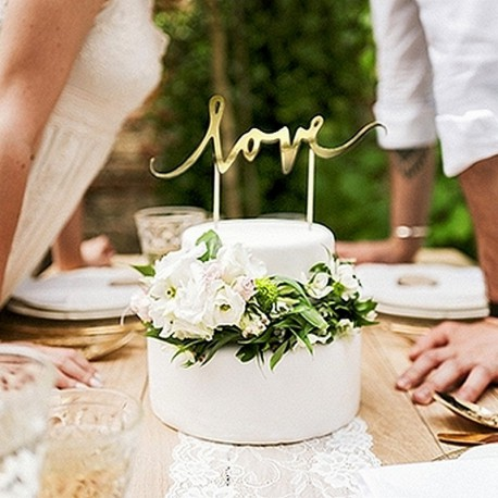 TOPPER na tort weselny LOVE Złoty