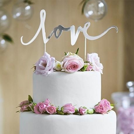 TOPPER na tort weselny LOVE Srebrny