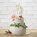 TOPPER na tort weselny Mr&Mrs ZŁOTY