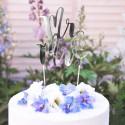 TOPPER na tort weselny Mr&Mrs SREBRNY
