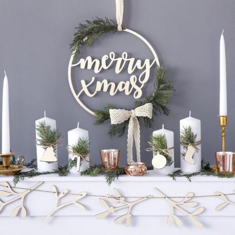NAPIS świąteczny drewniany w kole Merry Xmas 28cm