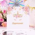 ZAPROSZENIA na Urodzinki dziecka Unicorn Jednorożec 10szt (+koperty)