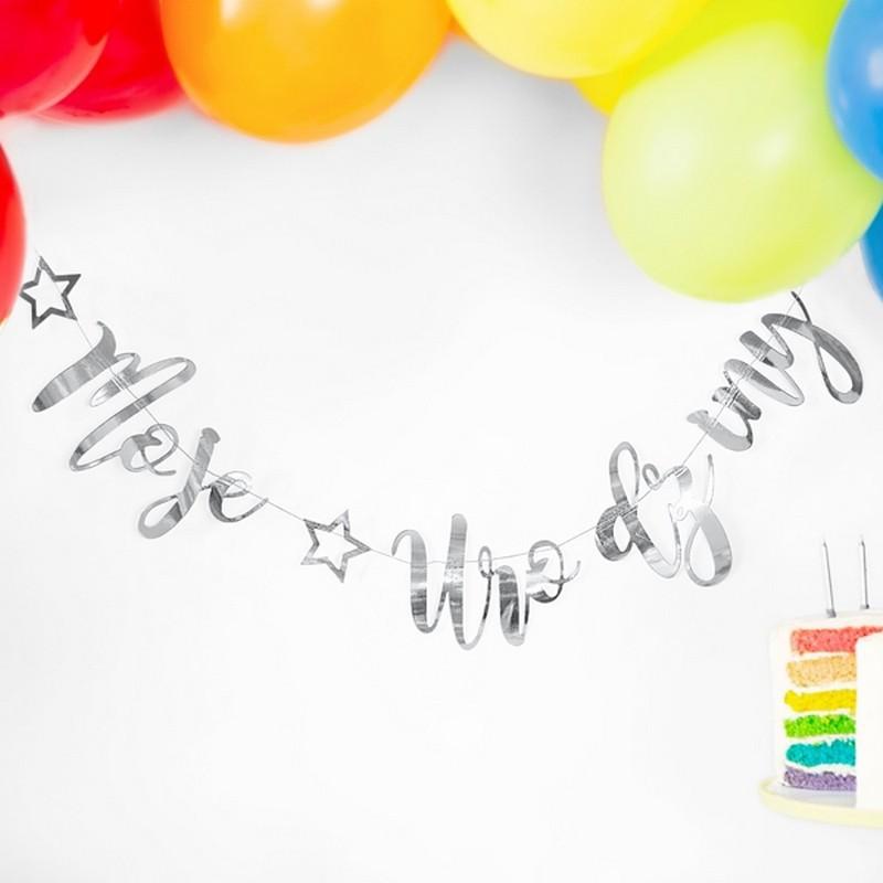 Baner z napisem Moje Urodziny w kolorze srebrnym