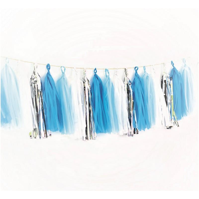 Girlanda z frędzelków w kolorze błękitno- srebrnym